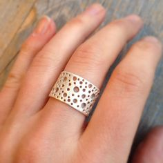 Sz 8 Sterling Circles Ring Flat Band by dooziejewelry on Etsy // Renegade Craft Fair Austin Summer 2014 SXSW Edition #renegadecraft