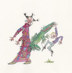 Angelica Sprocket and her crocodile pocket from Angelica Sprockets Pockets by Quentin Blake
