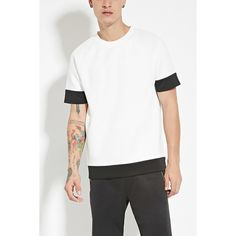 Forever 21 Men's  Contrast-Trim Scuba Knit Tee ($10) ❤ liked on Polyvore featuring men's fashion, men's clothing, men's shirts, men's t-shirts, mens long sleeve shirts, mens t shirts, mens long sleeve t shirts, mens short shirts and mens long sleeve knit shirts