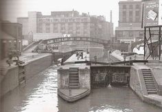 Camden Lock The diagonal bridge, a landmark now, was erected in 1845 Camden London, Old London, North London, London Pictures, Old Pictures, Old Photos, Camden Lock, As Time Goes By, Canal Boat