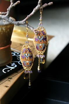 Amethyst Citrine Padparadscha sapphire gold by Peelirohini on Etsy, $93.00