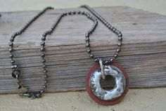 Oxidized Washer Necklace: Steampunk, Unisex, Eclectic, Industrial