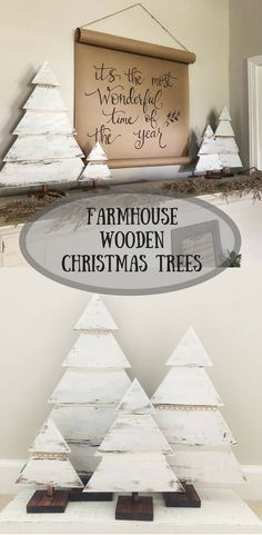 Beautiful Set of 4 Farmhouse Style White Christmas Trees #farmhouse #wood #ad #white #homedecor #rustic #christmas #trees #fixerupper