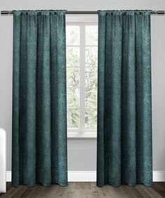 Another great find on #zulily! Teal Embossed Satin Curtain Panel - Set of Two #zulilyfinds