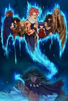 """Seven more dragon slayers.. until there's none left.""  ~ This is so cool!!! ~ Illustration references chapter 470 of Fairy Tail ~ Dragonslayers ~ Natsu ~ Gajeel ~ Wendy ~ Laxus ~ Sting ~ Rogue ~ Erik/Cobra ~ Acnologia ~ Beautiful artwork by blanania on tumblr."