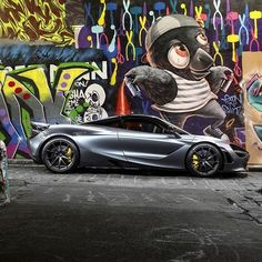 Perfectly situated in front of a vibrant and colourful street in one of the world's greatest street art capitals. New Mclaren, Mclaren Cars, Bugatti, Lamborghini, Ferrari, Alpha Romeo, Mclaren Models, Car In The World, Cars