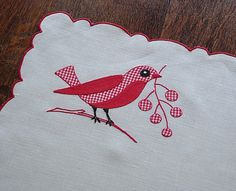merry bon bon embroidery pillow | Vintage and Antique Linens by Ems Heart