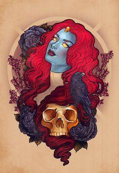 Raven Mystique signed art prints by MeganLaraArt Comic Books Art, Comic Art, Book Art, Art And Illustration, Pin Up, Raven Art, Rabe, Marvel Girls, Geek Culture