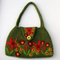 Light moss green hand knit felted bag with beautiful needle felted flowers
