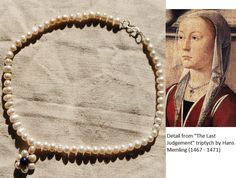 Medieval jewelry replica: necklace based on a Flemish painting Renaissance Jewelry, Medieval Jewelry, Renaissance Fashion, Medieval Clothing, Italian Renaissance, Historical Clothing, Hans Memling, Historical Hairstyles, Medieval Costume