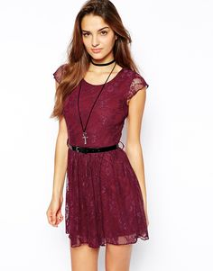 Image 1 ofClub L Lace Skater Dress with Belt
