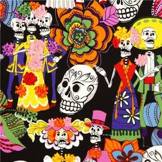 black Alexander Henry fabric with skeletons and skulls 1