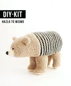 DIY KIT / Pattern of ecocotton crochet bear $53.42 pattern kit