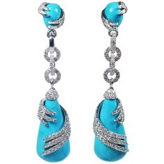 Preowned 14kt White Gold Turquoise Wrapped Diamond Pave Detail Drop... ($5,895) ❤ liked on Polyvore featuring jewelry, earrings, white, green turquoise earrings, white earrings, white gold earrings, turquoise earrings and drop earrings