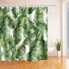 Shop for Tropic Plant Watercolor Banana Palm Leaves Bath Curtain, Green White. Get free delivery On EVERYTHING* Overstock - Your Online Shower Curtains & Accessories Store! Get in rewards with Club O! Vinyl Shower Curtains, Shower Curtain Hooks, Banana Leaf Shower Curtain, Banana Palm, Tropical Bathroom, Watercolor Plants, Room Paint Colors, Budget Bathroom, Dorm Bathroom