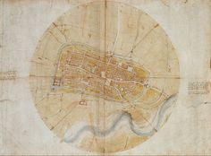 Leonardo da Vinci, Plan of Imola (for Cesare Borgia), 1502, (pencil, chalk, pen and wash on paper)
