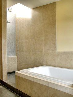 Traditional Bathroom : Pale Yellow, Shower Enclosure, Gray Tiles, Light Yellow, Tub, Skylight
