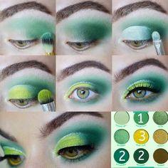 Bold Makeup Looks, Bright Eye Makeup, Green Makeup, Colorful Makeup, Colourpop Eyeshadow, Eyeshadow Makeup, Makeup Cosmetics, Colourpop Palette, Morphe