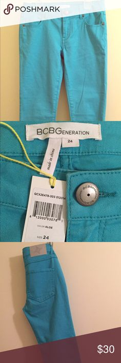 BCBGeneration size 24 Jeans in the color Aloe Cute spring time BCBGeneration cropped skinny jeans in a beautiful turquoise green kinda color called Aloe. If you love bright colors you'll love these jeans. It definitely adds pop to your wardrobe that you can wear all spring and summer. BCBGeneration Jeans Skinny