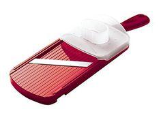 Kyocera Advanced Ceramic Adjustable Mandoline Vegetable Slicer w/ Handguard-Red