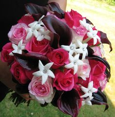 Black callas,  make a statement in this bridal bouquet