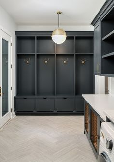 smart mudroom ideas to improve your homeMUDROOM IDEAS - The mudroom is a very important part of your home. With Mudroom you can keep your entire home clean and tidy. Mud room or you Mudroom Cabinets, Mudroom Laundry Room, Laundry Room Design, Mud Room Lockers, Mudroom Cubbies, Mudroom Storage Ideas, Garage Storage, Mudrooms With Laundry, Hallway Coat Storage