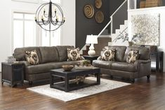 If you are fond of Signature Design by Ashley, you will find this gorgeous Kannerdy Quarry Living Room Set as a must-have addition to your interior. Made of 100% leather with hidden zippers and accent pillows this well-designed dark brown living room setting will serve for years to you and your family. And if you are looking for an affordable price and free delivery 1StopBedrooms can become an excellent place to order.