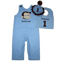 Boys First Birthday Curious George Shortall, Curious George Jon Jon, First Birthday Jon Jon - pinned by pin4etsy.com