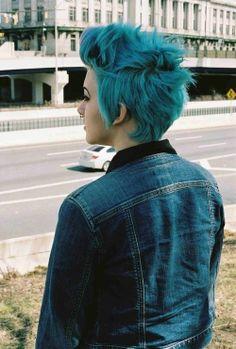 Turquoise pixie cut! #hair
