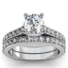 Pavé Diamond Engagement Ring with band set in Platinum