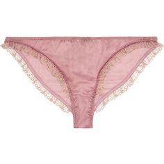 Le Reve lace-trimmed silk-satin briefs, Kiki de Montparnasse, Women's ($85) ❤ liked on Polyvore featuring intimates, panties, lingerie, underwear, lilac, frilly lingerie, kiki de montparnasse lingerie, kiki de montparnasse and underwear lingerie