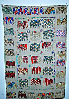 Elephant Applique Patch work kantha quilt throw, Kantha Vintage Quilt handmade quilt, bedspread queen kantha quilt blanket tapestry EL22 on Etsy, $57.46 AUD