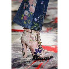 Alexander McQueen. #floral #denim #shoes #boots #VogueRussia #readytowear #rtw #springsummer2017 #AlexanderMcQueen #VogueCollections