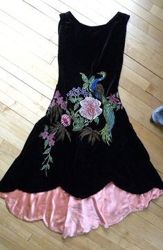 1920s ~ velvet dress with floral peacock embroidery