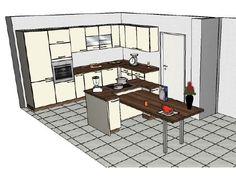 Küchendesign in 3D - schräg von Oben - am PC aus dem Küchenstudio ... | {Küchenstudio plan 85}