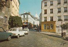 La rue Norvins vers 1960. La boulangerie est toujours là...  (Paris 18ème)