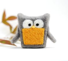 Needle Felted Owl grey mustard yellow wool home by feltjar on Etsy, $25.00