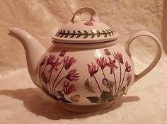 Portmeirion Botanic Garden Cyclamen Teapot Vintage 1972 Butterflies & Ladybugs