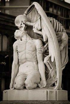 """The Kiss of Death"" ~ Poblenou Cemetery, Barcelona ~ Miks' Pics ""Artsy Fartsy Vll"" board @ http://www.pinterest.com/msmgish/artsy-fartsy-vll/"