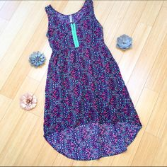 """HIGH LOW summer dress, M. Pretty high low dress, sz M. Blue and pink floral with neon green accent. Bust is 18"""", waist is 17"""", dress length is 34-42"""". Xhilaration Dresses High Low"""