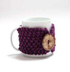 Knitted mug cozy tea cup cozy  coffee sleeve purple by bymarkova, $13.90