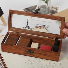 Transparent lid retro old wooden pencil box wood jewelry box wooden to – Pitchy Wooden Delights