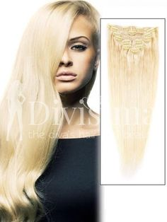 9 Piece Silky Straight Clip In Indian Remy Human Hair Extension - Bleach White Blonde( Human Hair Clip Ins, Remy Human Hair, Remy Hair, Cheap Hair Extensions, Crochets Braids, White Blonde, Bleached Hair, Hair Pieces, Hair Clips
