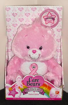 FOR SALE - Care Bears Plush Pink Power Bear Limited Edition Show You Care Bracelet NIB 2008