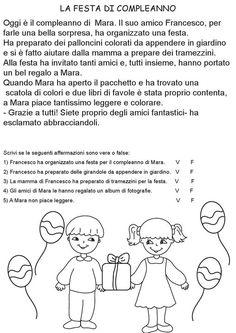 La festa di compleanno. Comprensione del testo Language Activities, Activities For Kids, Italian Lessons, Italian Language, Learning Italian, Reading Comprehension, Kids And Parenting, Teaching, Math