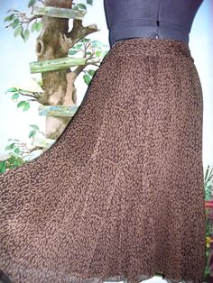Charter Club Skirt Printed Brown Women Panel Skirt Size 14 100% SILK New #CHARTERCLUB #FullSkirt