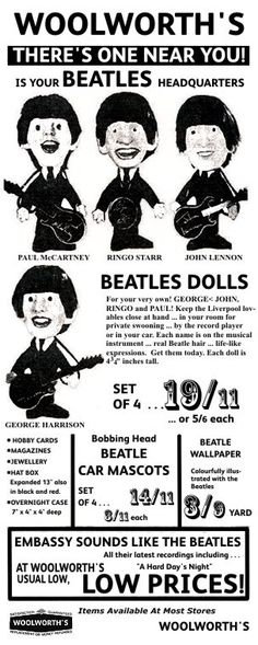 Remco's 'The Beatles' - available at Woolworths for a little under £1 for the set of four in the mid 1960s. Today, an original set with provenánce would fetch nearly a thousand times more.