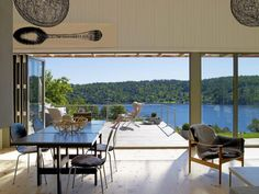 Overlooking the fjord 2 Interior Architecture, Interior And Exterior, Interior Design, Interior Ideas, Outdoor Spaces, Outdoor Living, Les Fjords, Anna, Patio Doors