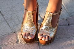 Gold sparkly wedges