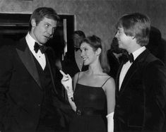 Harrison Ford, Carrie Fisher and Mark Hamill at the premiere of The Empire Strikes Back in London, 1980.